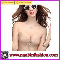 2016 new arrival girls hot sale push up strapless adhesive silicone bra