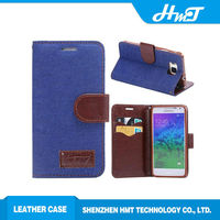 Wallet style PU leather mobile phone jeans case For Samsung galaxy Alpha G850