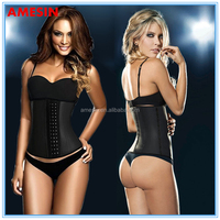 AMESIN waist shaper palace sexy adult latex rubber clothing with hooks