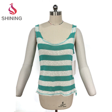 Comfortable White & Blue Striped Tank Top back with white lace knitting tank top t shirt