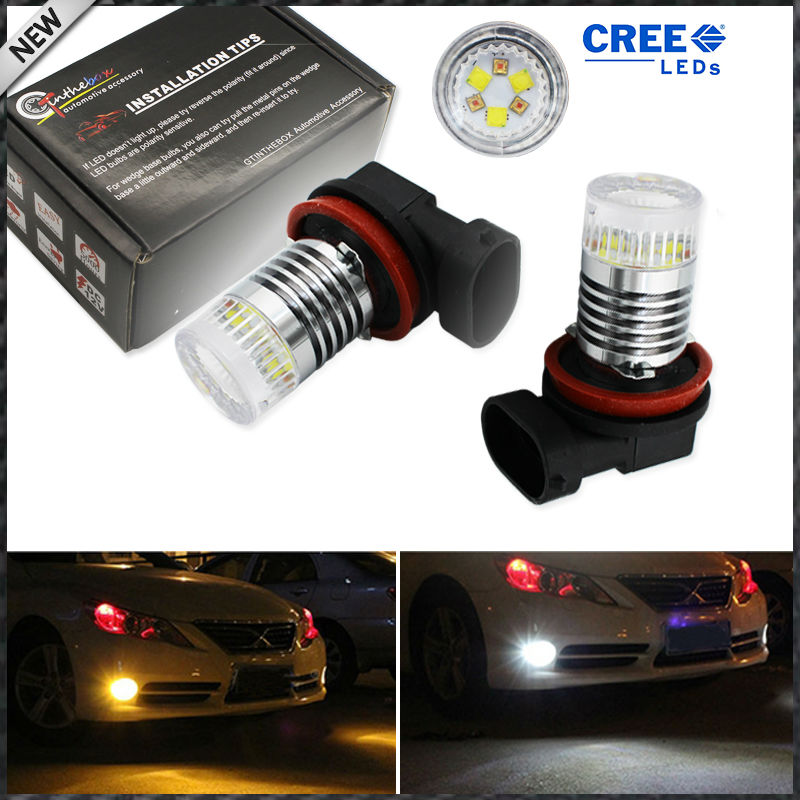 Color Switchable Xenon White/Amber Yellow CRE'E High Power H11 H8 H9 LED Bulb Fog Lamp light or Driving Light Replacement