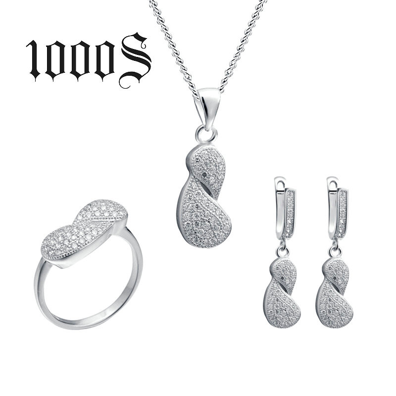 Trendy Fashion Bridal Micro Pave 925 Sterling Silver Jewelry Sets
