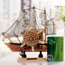 New type sailboat shape wooden music box for Christmas gift