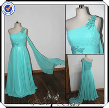 PP0112 Real Sample Beaded Ice Blue one shoulder long chiffon patterns for bridesmaids dresses