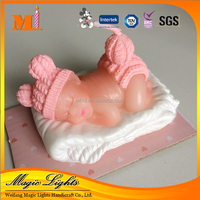 Cute Pink Sleeping Baby Shape Gift Candle