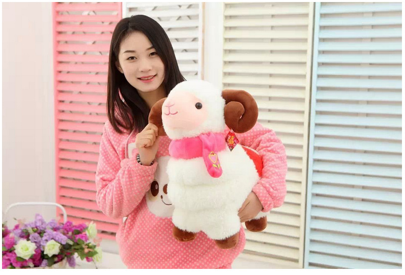 CE Certificated Sheep Toy for Sale with Red Scarf
