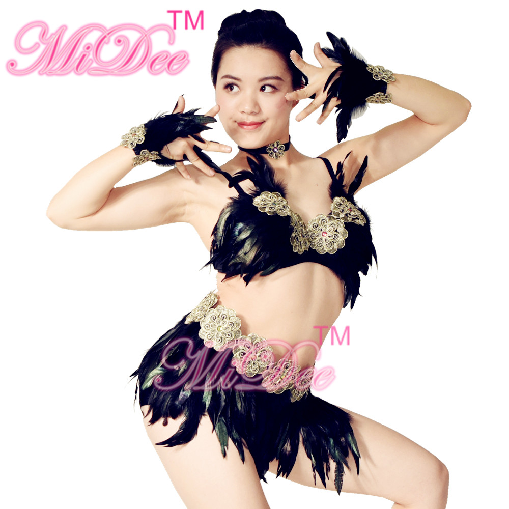 Nightclub Ballroom Performance Feathered Rumba Belly Dance Costumes For Sale