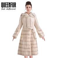 QUEENFUR Women Fur Coat For Winter Real Rex Rabbit Fur Long Jacket Fashion Lady Mink Fur Hooded