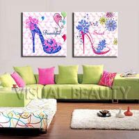 Canvas Ladies High Heel Shoes Painting for Home Decor