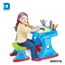 2 in 1 Easel kids study table and chair for learning drawing
