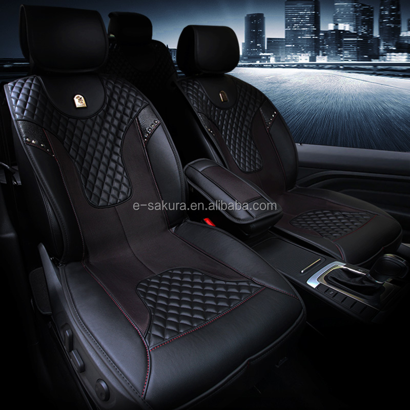 2016 new stylish minimalist black rivet leather seat cover for Peugeot 301