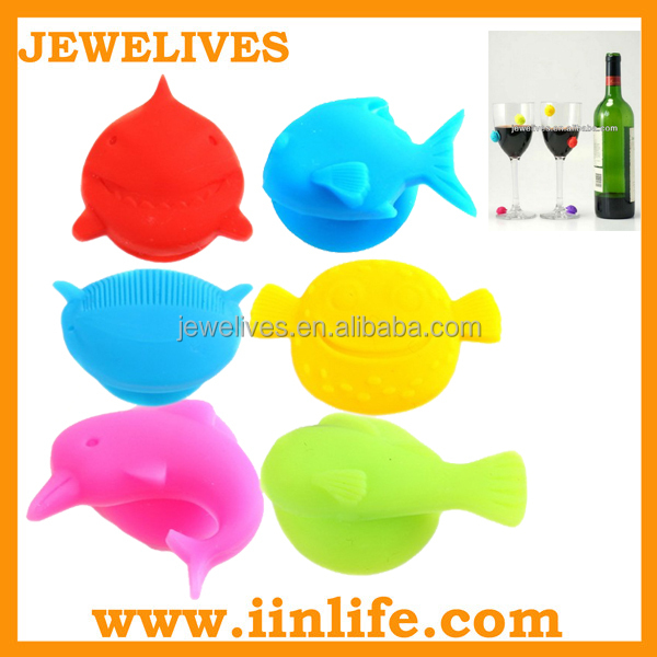Promotion gift ideas cute glass marker silicone with suction cup