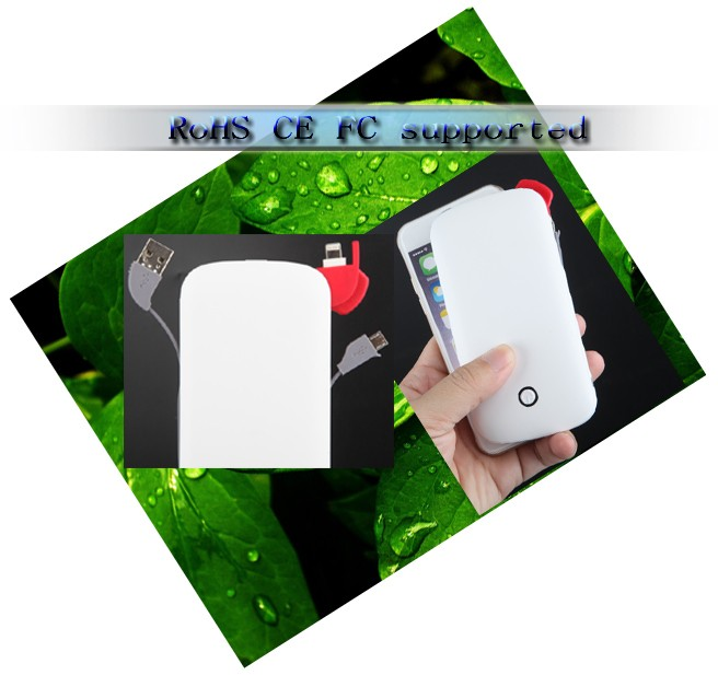 QZD168 built in cable 6000mah power bank with CE ROHS FC