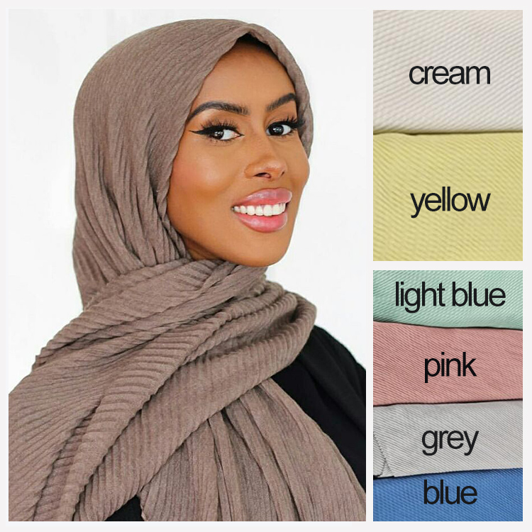 China head scarf muslim woman crumple cotton wholesale scarves pleated shawl plain hijab viscose crinkle scarf hijab