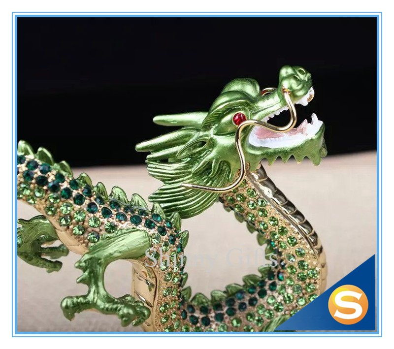 Chinese Traditional Dragon Pewter Material Metal Craft Czech Crystallized Dragon Figurine Display