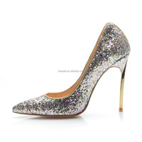 Manufacturer prom dress shoes women's high heels 2015 bling bling shoes silver heels shinning upper ladies formal shoes