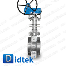 Didtek 6'' 900 LB CF8M Worm Gear Operated Stainless Steel Hard Seal Double Flange End Industry Triple Offset Butterfly Valve