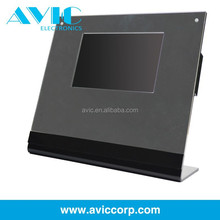 Unique design LCD screen free standing black video display stand with free replace inner printing papers