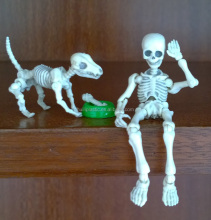 white skeleton plastic pvc action figure, skeleton dog action figure toy, movable pose action figure toy