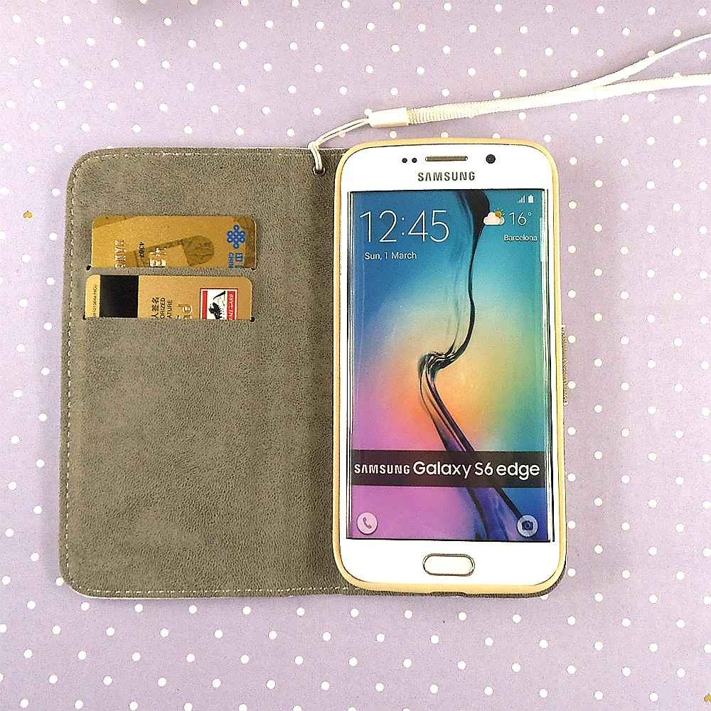 Original brand women phone purse for samsung s6 edge case back cover wholesale