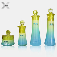 long neck color customize glass clear bottle jar with lid whole set