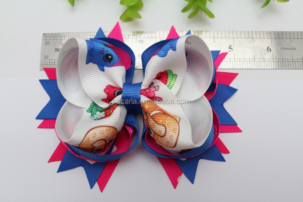 cat in the hat Thing 1 hair bows red blue and white ribbon spikes bows