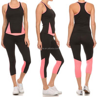 Custom Made Sweat Suits SOLID COLOR BLOCK 2-PIECE ACTIVEWEAR SET With Scoop Neck Racerback Top And Cropped Fitted Pant
