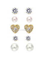 Neoglory Jewelry Gold Color Plated Crystal Heart Stone with Pearl and Cubic Zirconia Stud multi-set of versatile earrings