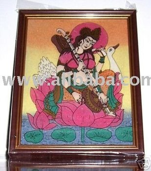Maa Saraswati Sitting on Floting Lotus Flower Gem Art Painting