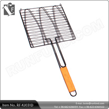BBQ Cooking Fillet Fish Grill Basket Barbecue Tool With Wooden Handle