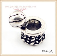 Cute basketball shape box with the ball beads, large hole silver beads, fashion beads ,african beads jewelry set ZX-A22367