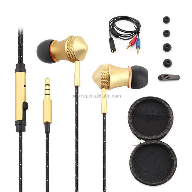 Dual dynamic driver speakers deep bass metal stereo headphones