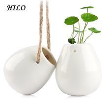 Home Decoration White Ceramic Hanging Plant Pot