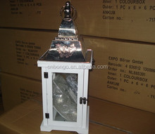 decorative white wooden hurricane candle lantern