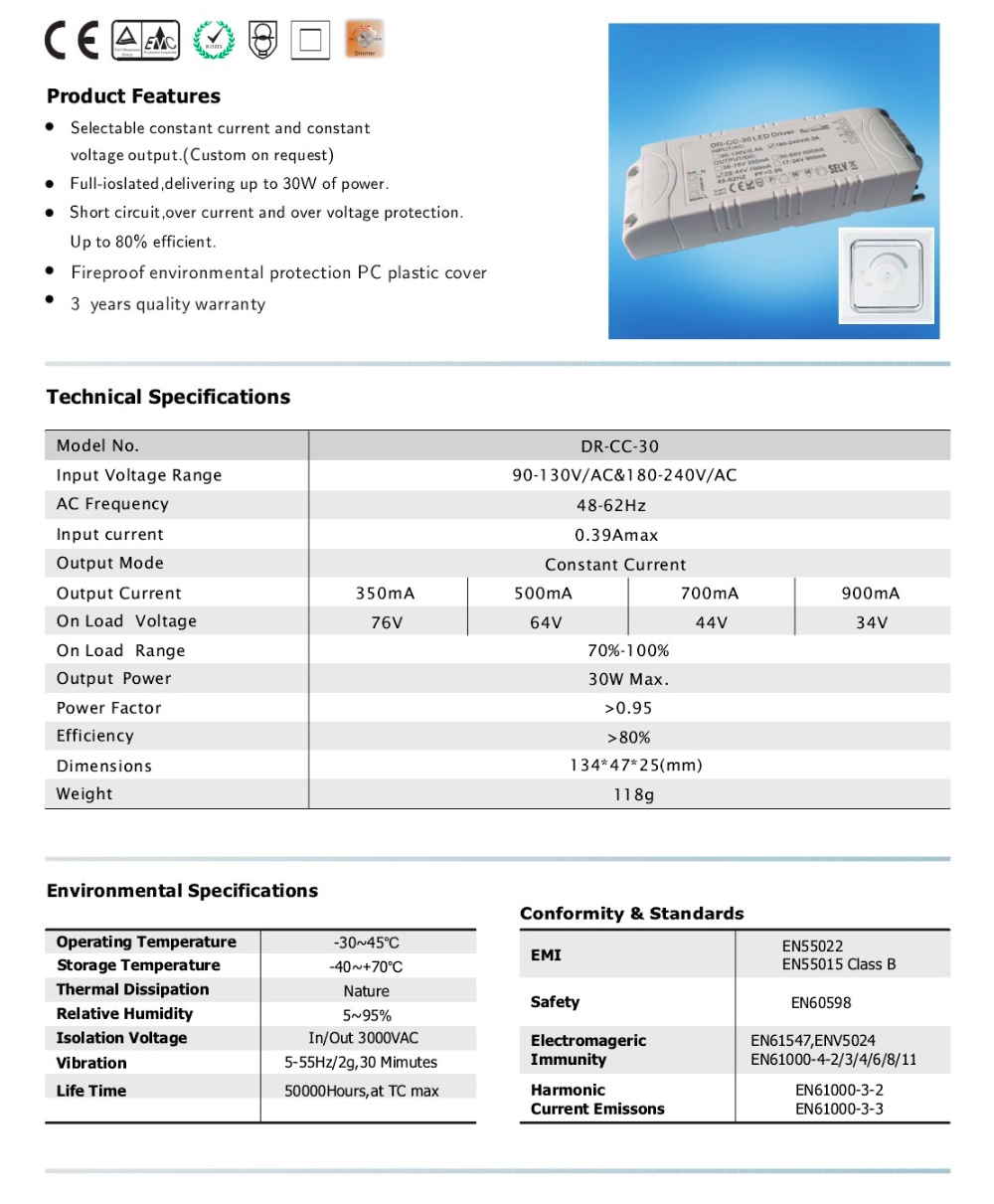 Constant Voltage 24V 30W Triac Dimmable LED Drive