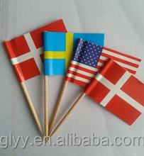 6.5cm Color Cocktail Bamboo Flag Picks