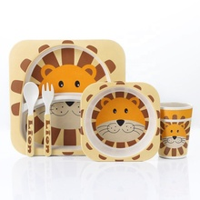5pc/set Baby Dishes Bowl Cup <strong>Plates</strong> Sets Bamboo Fiber Cute Cartoon Feeding Toddler Tableware Children Dinnerware Set