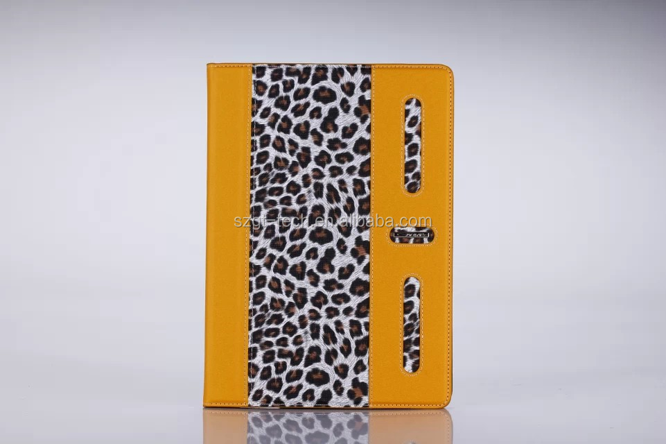 Leopard skin 360 rotate flip smart cover case stand leather for ipad air 2 case