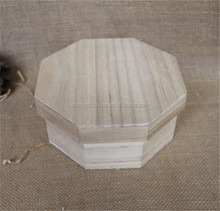 Octagon natural lightweight unfinished empty wooden box for chocolate