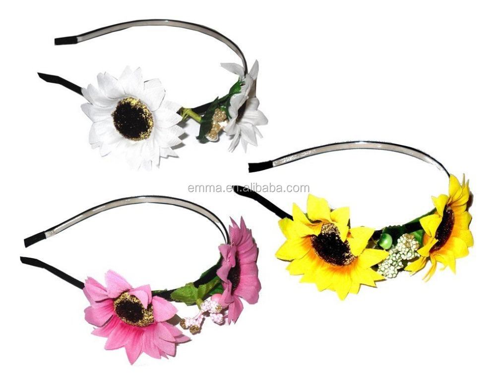 Yellow pink white colors high quality daisy flower crown headband 12356