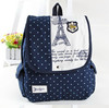 Fashion Fresh Style Polka Dot Eiffel Tower Printing Canvas Satchel Bag Rucksack School Backpack Bag Knapsack For Girls Women