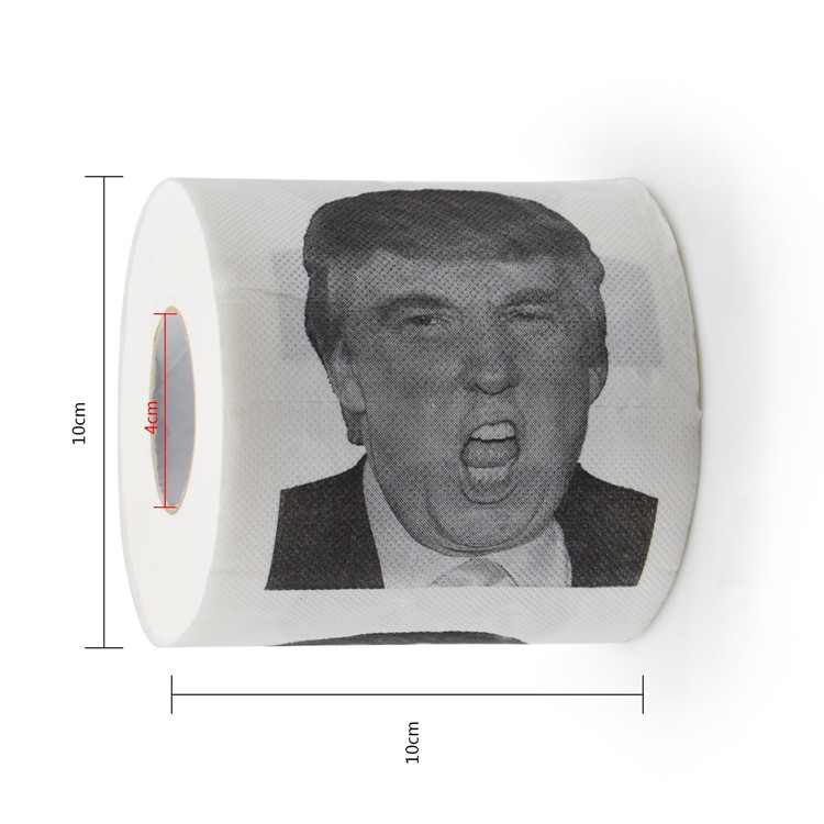 Factory Wholesale 3 ply Virgin Wood Pulp Funny Donald Trump Toilet Paper Roll