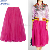new fashion scuba fabric high waist midi long flowing skirt,red color organza midi skirt