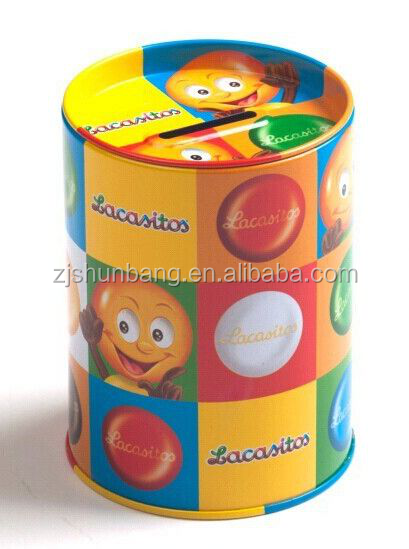 cheap candy tin container/ food coffee can/ round shape lunch box candy tin container with handle