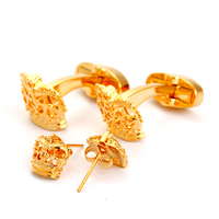 Luxurious Jewlry Wedding Cuff Links Gifts Shirt Gold Crown Cufflinks and Earrings Set