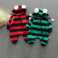 S34200W Baby onepiece jumpsuit newborn clothing cotton thicken striped jumpsuits