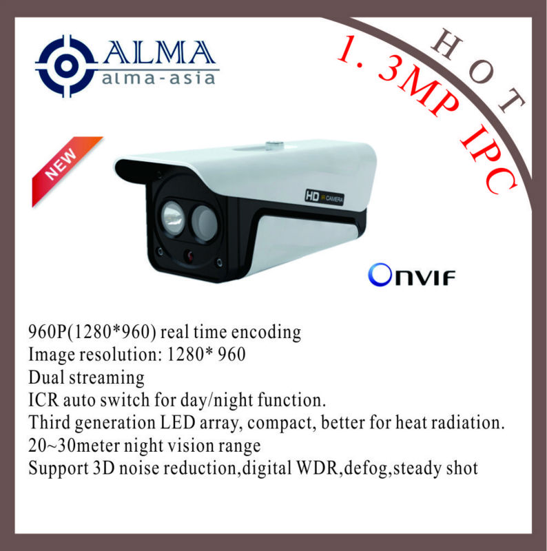 1.3 Megapixel IP box camera support ONVIF and POE