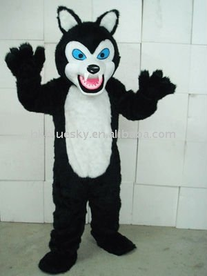 Fine tooth hairy black wolf Plush Adult Mascot Costume