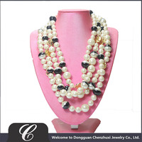 Hot! Women Jewelry Four Strands Cream White pearl necklace with black ornament