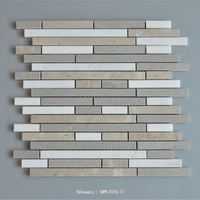 Decorative stone grey and white beige marble mosaic random strips